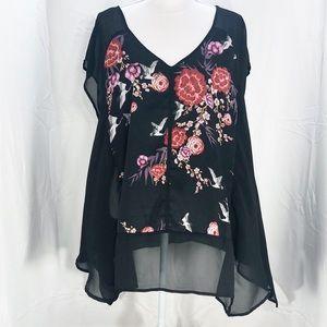Torrid Sheer Black Floral Blouse Size 1       A112